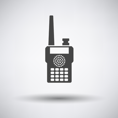 two way: Portable radio icon on gray background with round shadow. Vector illustration.