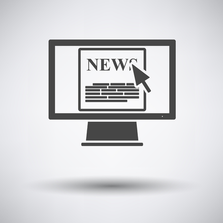 news flash: Monitor with news icon on gray background with round shadow. Vector illustration. Illustration