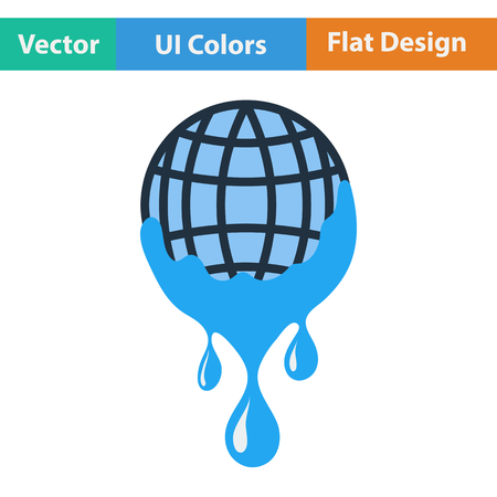 droplets: Planet with flowing down water icon. Flat design. Vector illustration. Illustration