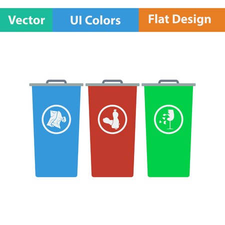 segregate: Garbage containers with separated trash icon. Flat design. Vector illustration. Illustration