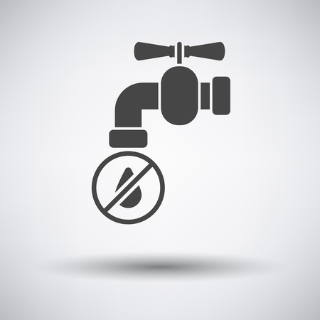 water faucet: Water faucet with dropping water icon on gray background round shadow. Vector illustration. Illustration