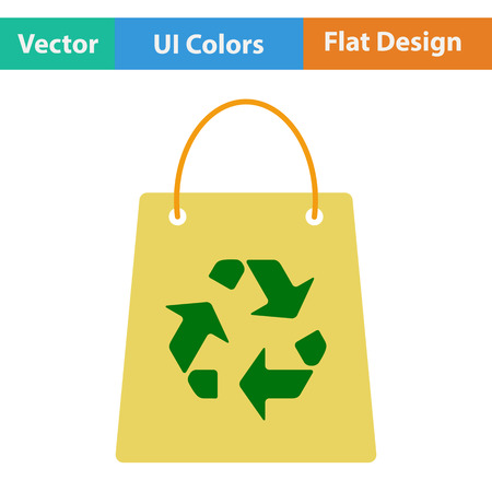 recycle sign: Shopping bag with recycle sign icon. Flat design. Vector illustration. Illustration