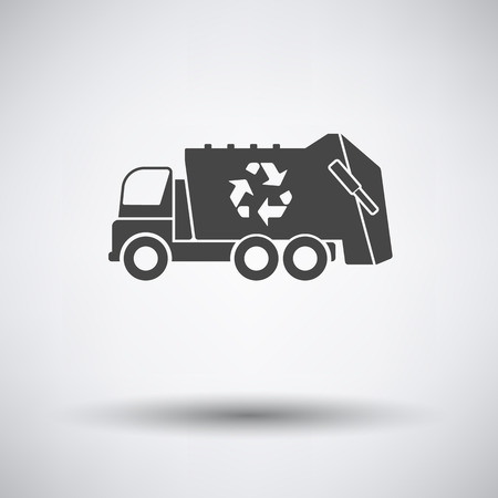 utilize: Garbage car recycle icon on gray background with round shadow. Vector illustration.