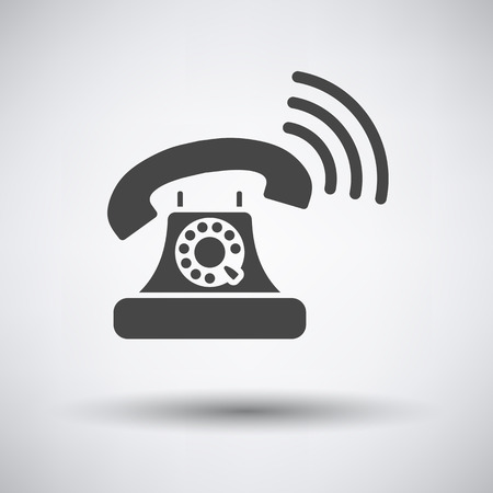 old telephone: Old telephone icon on gray background with round shadow. Vector illustration.