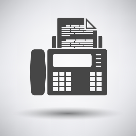 fax: Fax icon on gray background with round shadow. Vector illustration.
