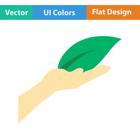 arbol de la vida: Mano que sostiene el icono de la hoja. Diseño plano. Ilustración del vector.