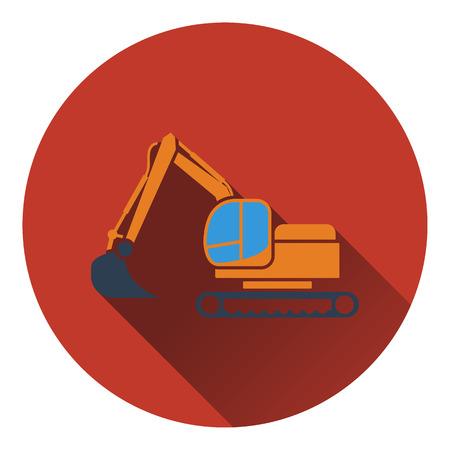 dredger: Icon of construction bulldozer. Flat design. Vector illustration.