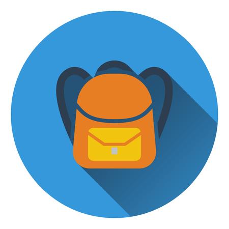 rucksack: Flat design icon of School rucksack in ui colors. Flat design. Vector illustration.