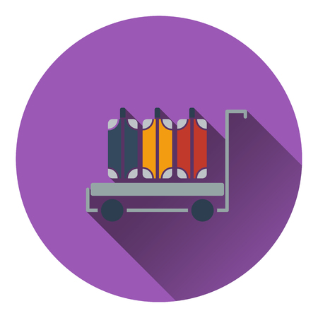 baggage: Luggage cart icon. Flat design. Vector illustration.