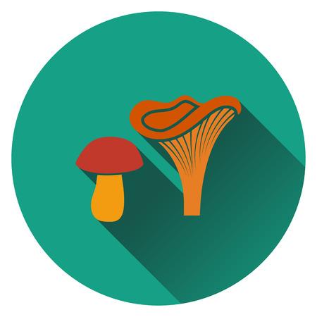 hongo: icono de la seta. Diseño plano. Ilustración del vector. Vectores
