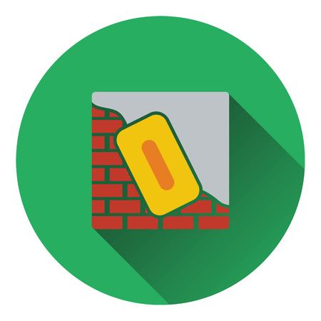 brick work: Icon of plastered brick wall . Flat design. Vector illustration.