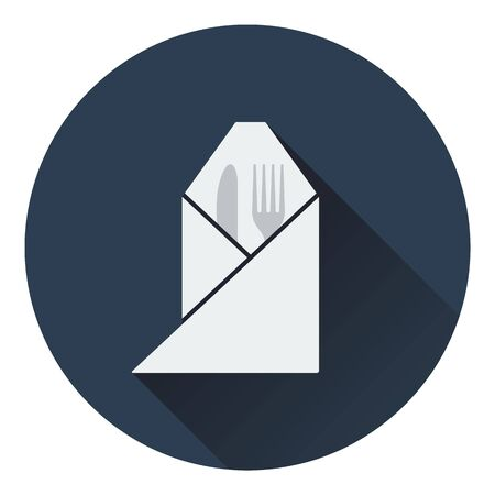 fork and knife: Fork and knife wrapped napkin icon. Flat design. Vector illustration.