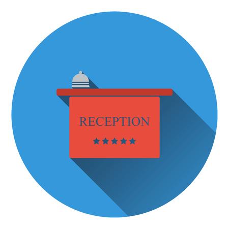 reception hotel: Hotel reception desk icon. Flat design. Vector illustration.