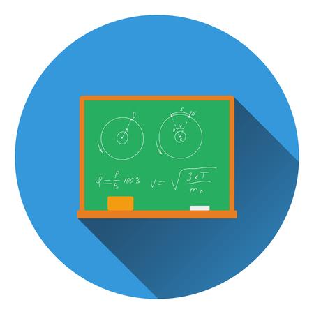 chalk eraser: Flat design icon of Classroom blackboard in ui colors. Flat design. Vector illustration.