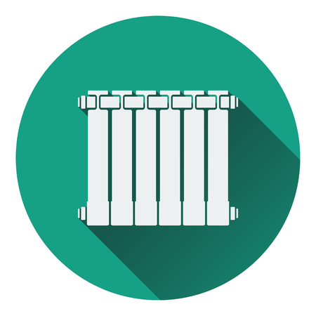thawing: Icon of Radiator. Flat design. Vector illustration.