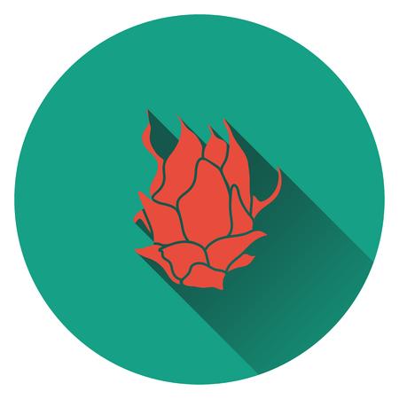 dragon fruit: Dragon fruit icon. Flat design. Vector illustration.