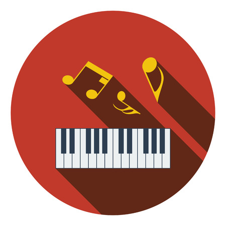 octaves: Flat design icon of Piano keyboard in ui colors. Flat design. Vector illustration.