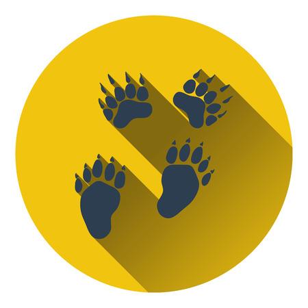 track pad: Icon of bear trails. Flat design. Vector illustration.
