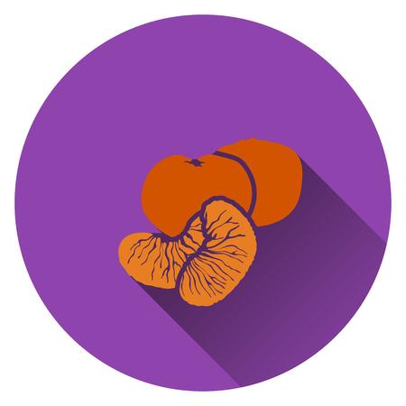 mandarin: Mandarin icon. Flat design. Vector illustration.