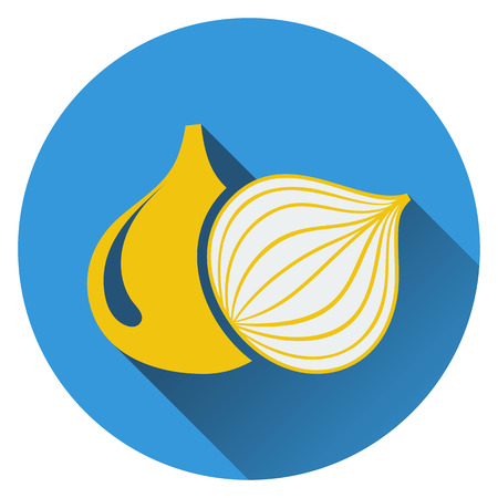 crop circle: Onion icon. Flat design. Vector illustration. Illustration