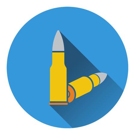ammo: Icon of rifle ammo. Flat design. Vector illustration.