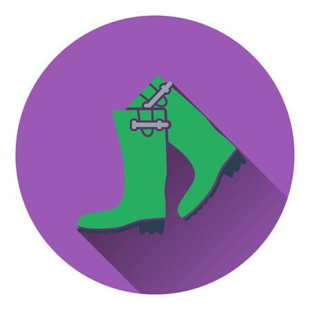 galoshes: Icon of hunters rubber boots. Flat design. Vector illustration. Illustration