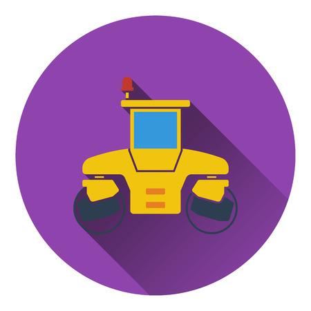 steamroller: Icon of road roller. Flat design. Vector illustration.