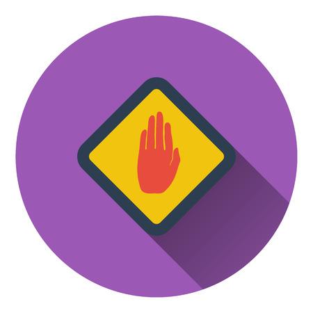single entry: Icon of Warning hand. Flat design. Vector illustration. Illustration