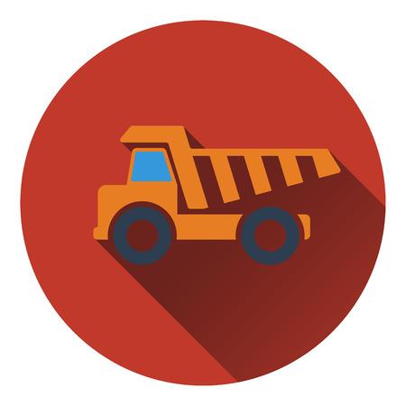 tipper: Icon of tipper. Flat design. Vector illustration.