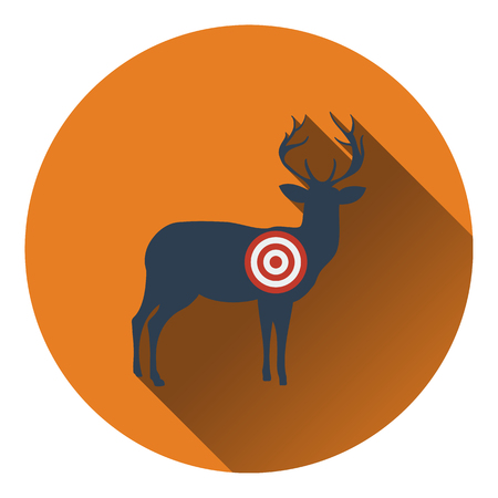 head shot: Icon of deer silhouette with target . Flat design. Vector illustration.