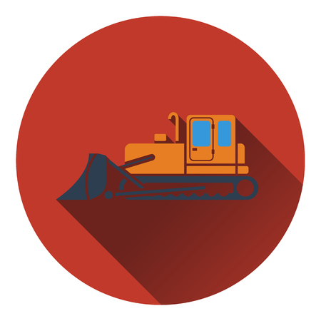 dredger: Icon of Construction bulldozer. Flat design. Vector illustration.