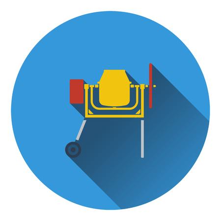 worksite: Icon of Concrete mixer. Flat design. Vector illustration.