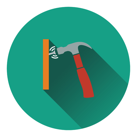impact tool: Icon of hammer beat to nail. Flat design. Vector illustration.