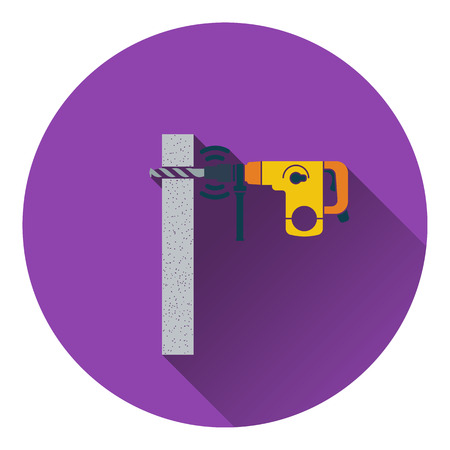 perforator: Icon of perforator drilling wall. Flat design. Vector illustration. Illustration