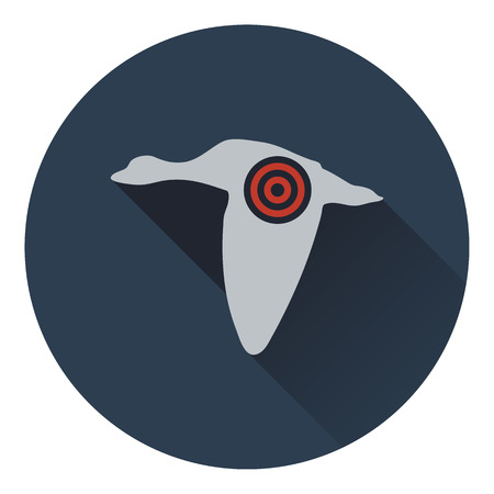 duck silhouette: Icon of flying duck  silhouette with target . Flat design. Vector illustration. Illustration