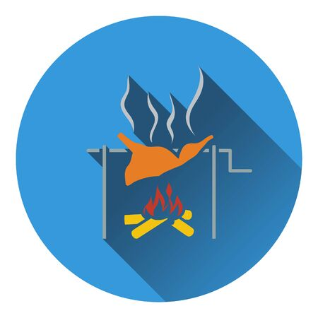 embers: Icon of roasting meat on fire. Flat design. Vector illustration.