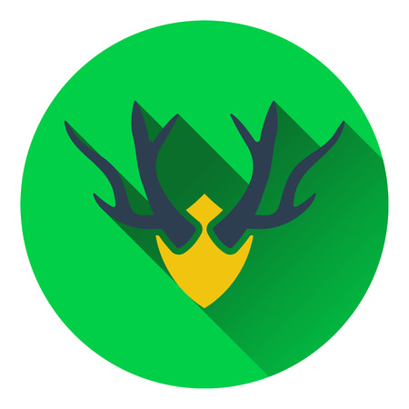 taxidermy: Icon of deers antlers . Flat design. Vector illustration.