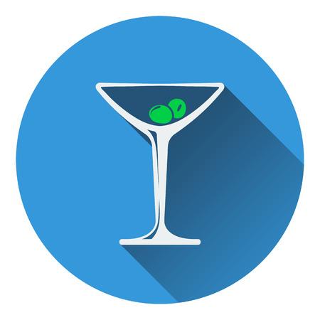 Cocktail glass icon. Flat design. Vector illustration.