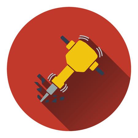 presslufthammer: Icon of Construction Bohrhammer. Flaches Design. Vektor-Illustration.