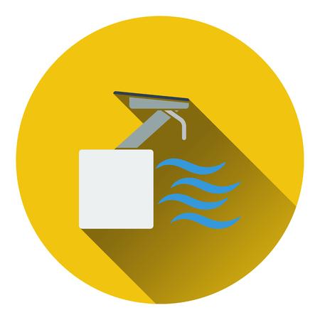 diving platform: Diving stand icon. Flat design. Vector illustration.