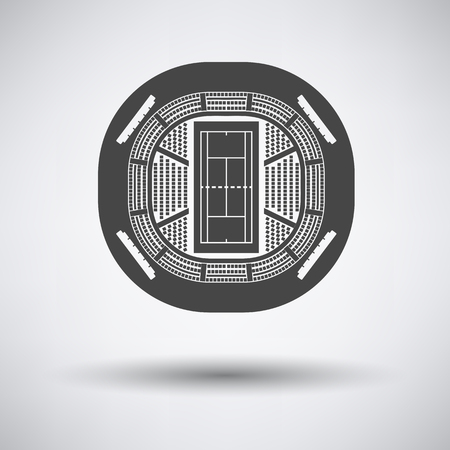 grandstand: Tennis stadium aerial view icon on gray background with round shadow. Vector illustration.