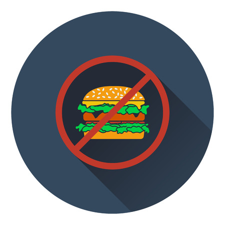 prohibido: Icono de hamburguesa Prohibida. Diseño plano. Ilustración del vector. Vectores