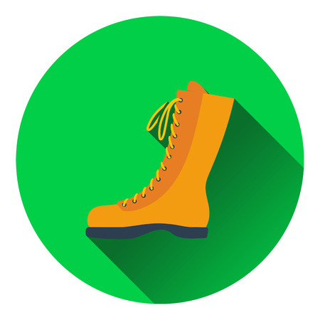 hiking boot: Icon of hiking boot. Flat design. Vector illustration. Illustration