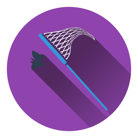 butterfly net: Icon of butterfly net. Flat design. Vector illustration.