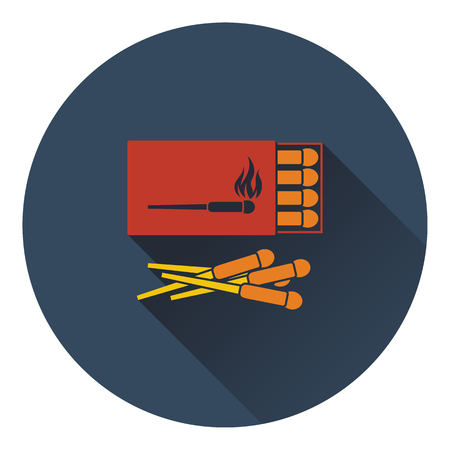 match box: Icon of match box. Flat design. Vector illustration.