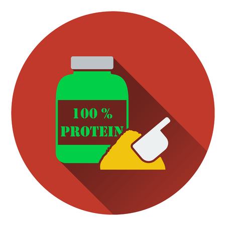 gainer: Icon of Protein conteiner. Flat design. Vector illustration. Illustration