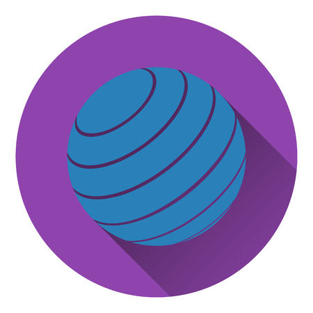 rubber ball: Icon of Fitness rubber ball. Flat design. Vector illustration.
