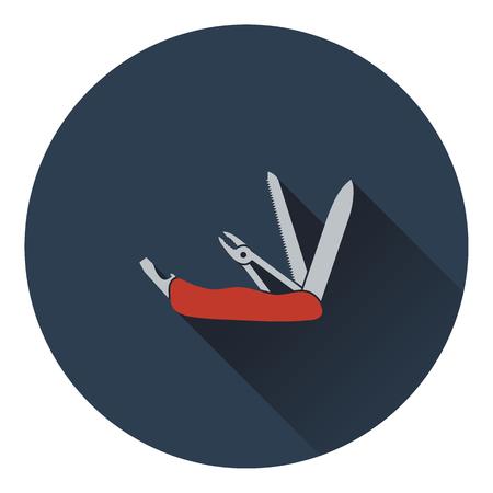 penknife: Icon of folding penknife. Flat design. Vector illustration.