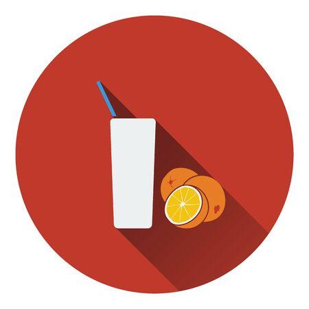 orange juice glass: Icon of Orange juice glass. Flat design. Vector illustration. Illustration
