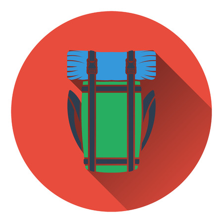 travel bag: Icon of camping backpack. Flat design. Vector illustration.